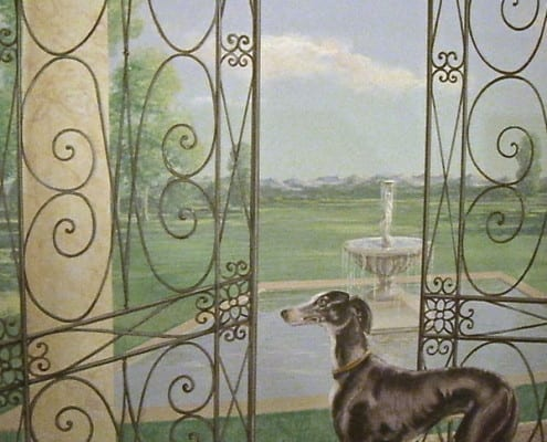 Paesaggio con Levriero - Trompe l'oeil